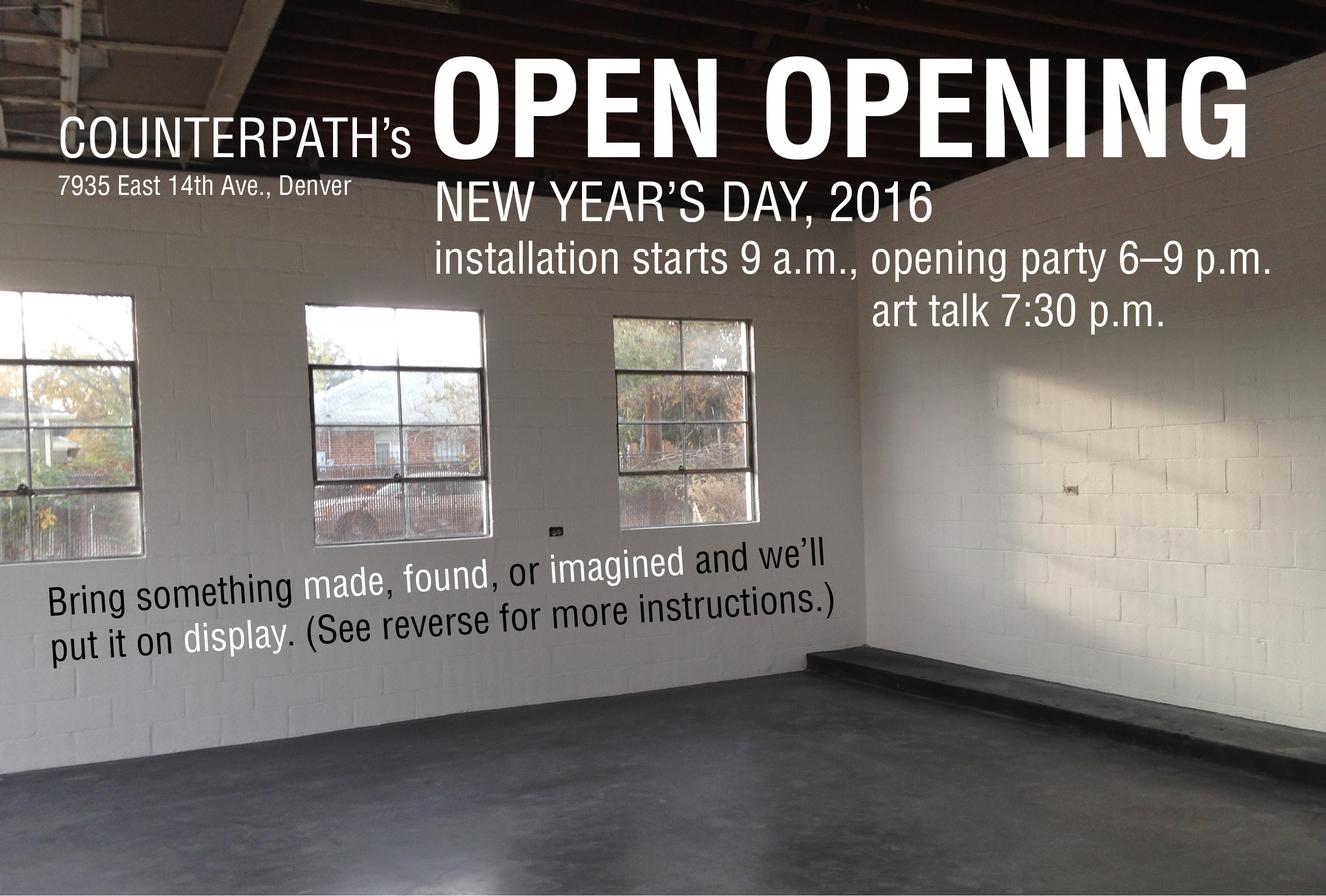 Open Opening, New Year's Day, Friday, January 1, 2016