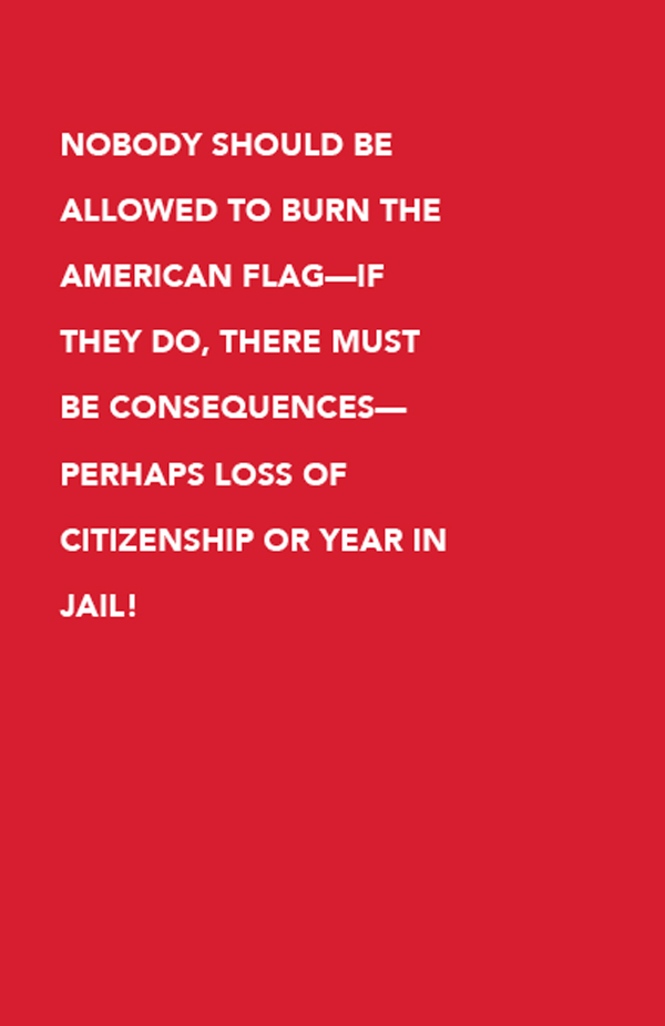 Nobody should be allowed to burn the American flag—if they do, there must be consequences—perhaps loss of citizenship or year in jail!