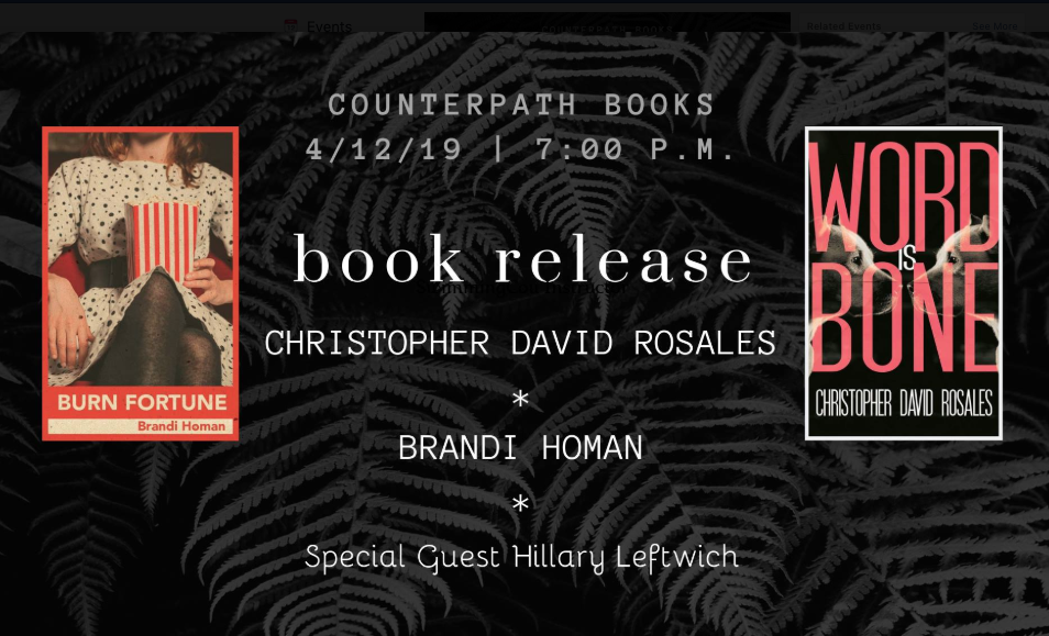 Brandi Homan, Christopher Rosales, and Hillary Leftwich, Friday, April 12, 2019, 7pm